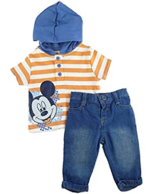 Baby Boy's 2-pc Mickey Mouse S/S Hooded Shirt & Jeans