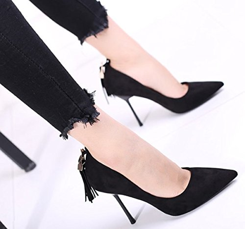 Black Women Shoes Lady 10Cm Shoes MDRW High Fine Spring Sexy Heels Shallow Career Tassel Leisure Elegant Fashion Banquet Heel Single 38 Work wHRRdXqx