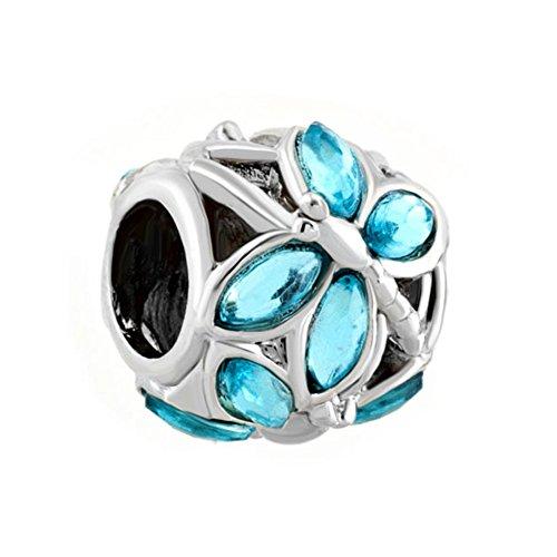 Q&Locket Blue Dragonfly Charm Beads for Bracelet ()