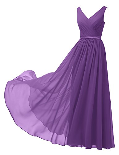 Alicepub V-Neck Chiffon Bridesmaid Dress Long Party Prom Evening Dress Sleeveless, Purple, Custom Size