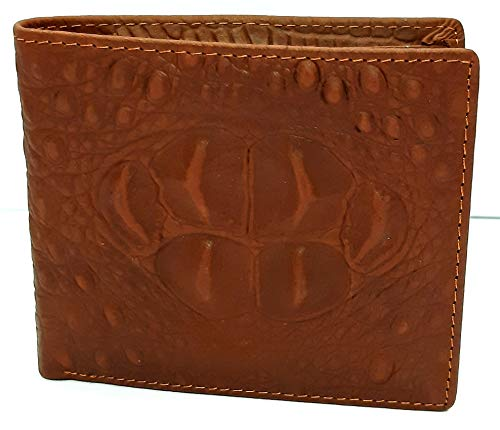 Genuine Cowhide Leather Alligator Crocodile Embossed Bifold Wallet Fashion (head hood brown)
