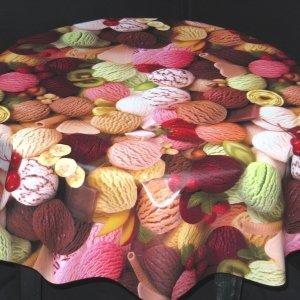 Round Vinyl Tablecloth   Ice Cream Design (137cm Diameter)