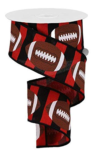 Football Striped Wired Ribbon - 10 Yards (Red, Black, 2.5