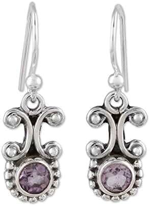 NOVICA Amethyst .925 Sterling Silver Dangle Earrings 'Wisteria Mist'