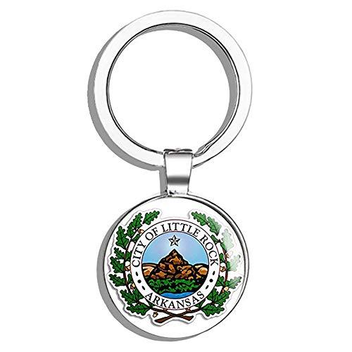 (HJ Media Little Rock Arkansas City Seal (Logo ak) Metal Round Metal Key Chain Keychain Ring)