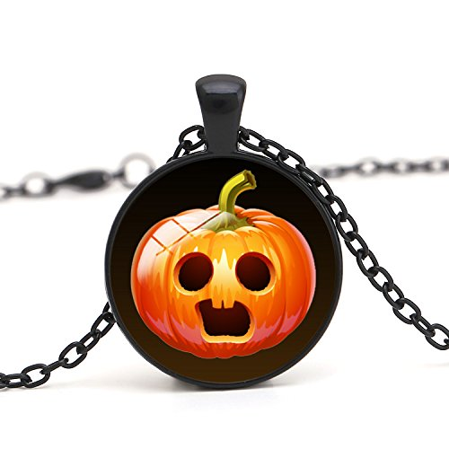 Halloween Pumpkin Expression Pendant Necklace With Box Packing For 3 Base Colors Selection,Halloween Enchantress Photo Glass Dome Necklace Pendant,Halloween Theme Jewelry,Halloween Gifts, Pumpkin -