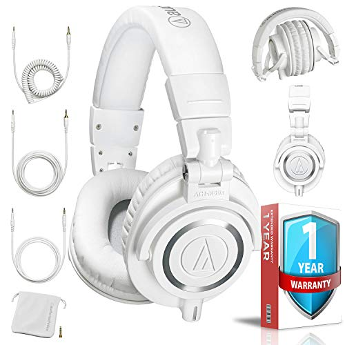 (Audio-Technica ATH-M50xWH Professional Closed-Back Studio Monitor Headphones (White) with Carrying Case, and Extended 1 Year Warranty)