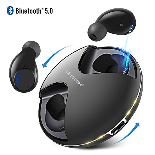 Letscom True Wireless Earbuds, Bluetooth 5.0 Headphones, IPX5 Waterproof Workout Sports Earphones for Running, Mini Headphones with HD Stereo Sound, Built-in Mic, Charging Case, 36 Hrs Playtime
