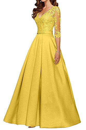 Festlichkleider Damen Gelb Braut Lang 4 La Abendkleider Satin Rock 3 Spitze mit Brautmutterkleider Marie Langarm 6HxxFwY