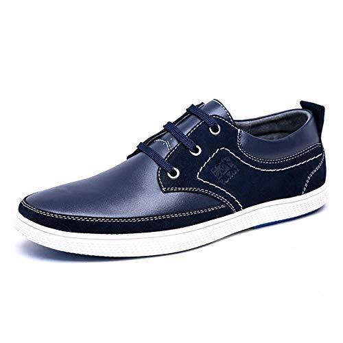 Color Casuales US 7 Lisos 5 con cómodos Azul Cordones Cuero Cordones HhGold para Color 7 Azul Hombres Hombres con para tamaño US Talla de Hombres Zapatos 6 8 UK Azul 5 Zapatos para UK wCBXS