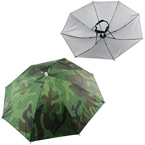 Ogrmar 2PCS Umbrella Hat Headwear for Outdoor Fishing Gardening Beach (Camouflage)