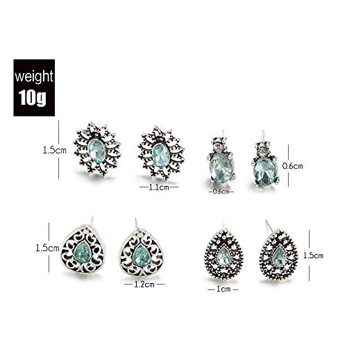 4 Pairs/Set Crystal Flower Stud Earrings Wedding Jewelry Dazzling Cubic Zirconia