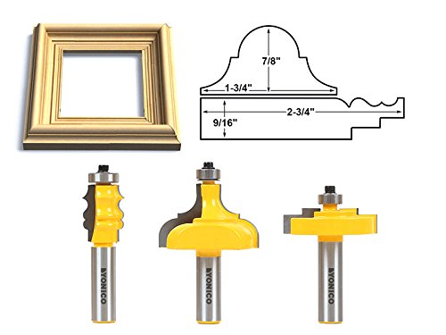 Yonico 18322 Complete Picture Frame Making Router Bit Set with 1/2-Inch Shank