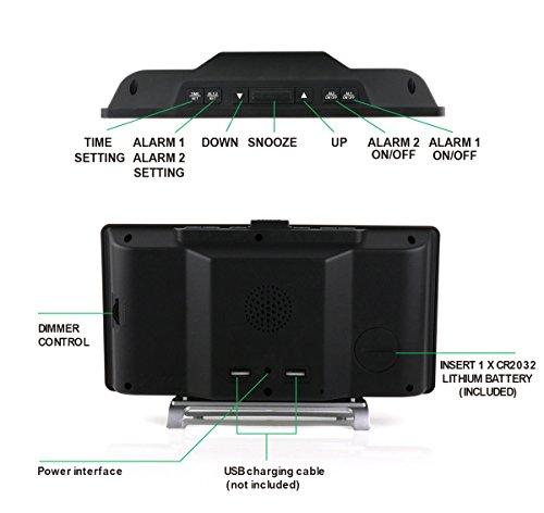 Large LED Digital Alarm Charger Port 0-100 Seniors Number for