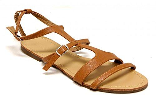 Anna Nova-1 Womens gladiator strappy buckled ankle strap flat PU Sandals Tan xvft0iSP4