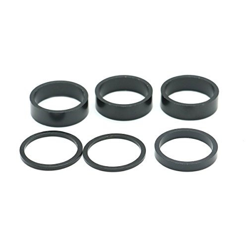 HUELE 6Pcs Bike Headset Spacer Aluminum Alloy Stem Spacers Fork Washer 2mm 2.5mm 5mm 10mm x 3 (Black) (Alloy Headset Spacers)