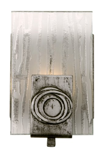 Varaluz 182B01 Polar 1-Light Vanity - Blackened Silver Finish with Ice Crystal Recycled ()