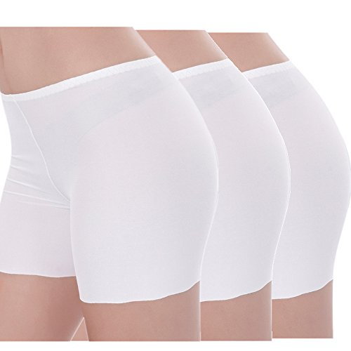 - COCO BLVD 3 Pack Women's Ice Silk Safety Shorts Invisible Seamless Boxer Briefs Underwear Boyshort (3 Pack(White3 Pcs), US L = Tag XXL)