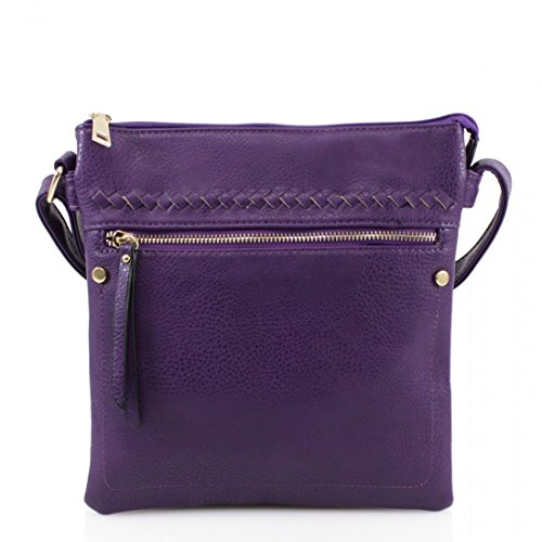 Ladies Faux Leather Cross Body Messenger Bag Women Shoulder Tote Satchel Handbag Purple