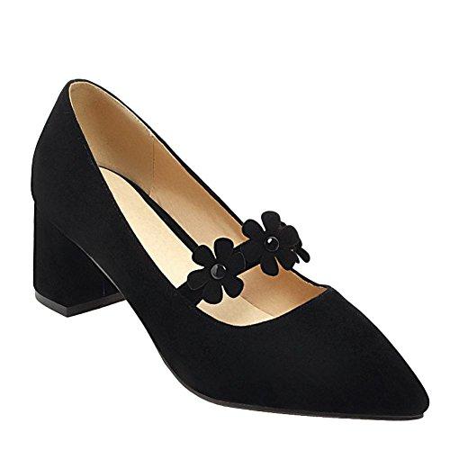 Mee Shoes Damen mit Blumen Chunky Heels Spitz Pumps Schwarz