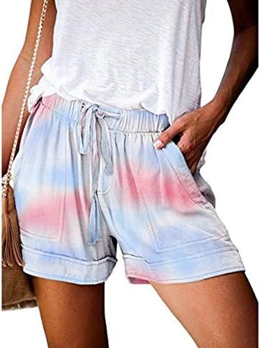 Handyulong Womens Comfy Shorts Striped Print Casual Drawstring Pocket Beach Summer Shorts Lounge Pants for Teen Girls