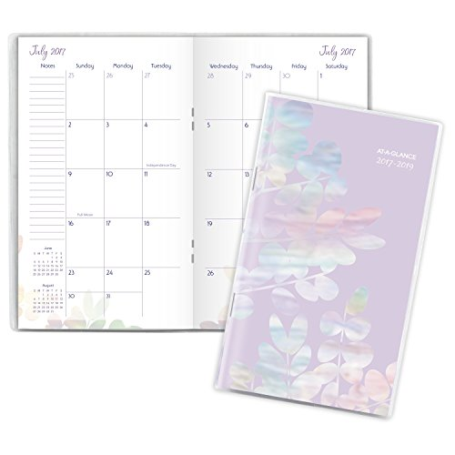 """AT-A-GLANCE Academic 2 Year Monthly Pocket Planner, July 2017 - July 2019, 3-5/8"""" x 6-1/16"""", Aura Blooms, Silver (185-021A) new"""