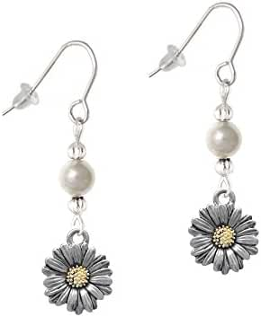 Two Tone Daisy Flower Imitation Pearl French Earrings