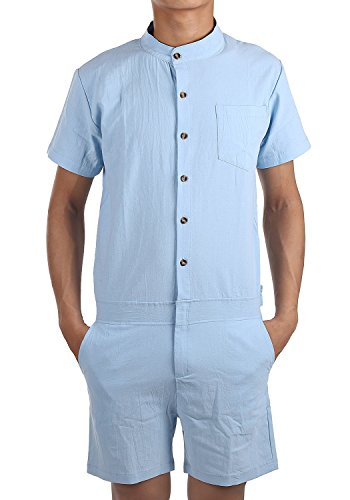 ENVMENST Men's Short Sleeve Speedsuit Zip-Front Shirts Slim Fit With Button (XL, Blue)