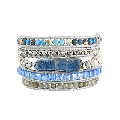 YGLINE Handmade Natural Blue Topaz Sodalite & Crystal Gemstone Leather Wrap Bracelet(Blue-Topaz 2) (Wrap Bracelet For Men)