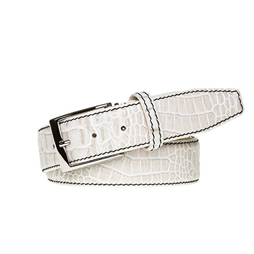 Snow Italian Mock Croc Leather Belt by Roger Ximenez: Bespoke Maker of Fine Leather Goods