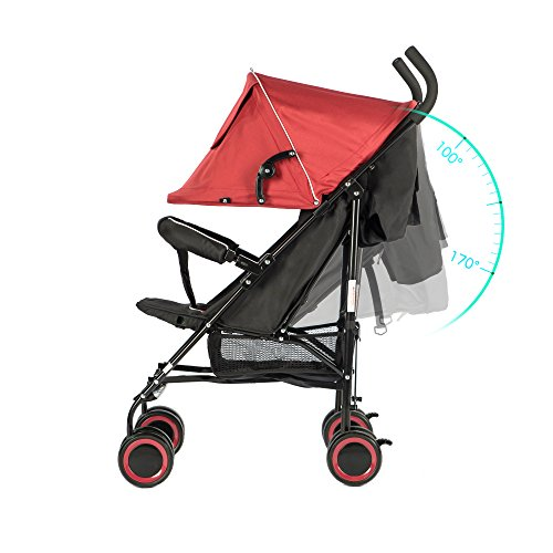 Cheap EVEZO 2141A Full-Size Ultra Lightweight Umbrella Stroller, Reclining Seat, 5-Point Safety Harness, Canopy, Storage Bin (Crimson Red)