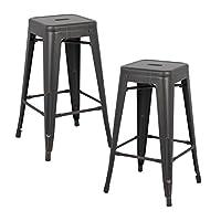 "AC Pacific Modern Backless Light Weight Industrial Metal Barstool 4 Leg Design, 30"" Seat Bar Stools (Set of 2), Distressed Black Finish"