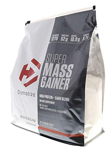 (Dymatize Super Mass Gainer, Strawberry , 12-Pound)