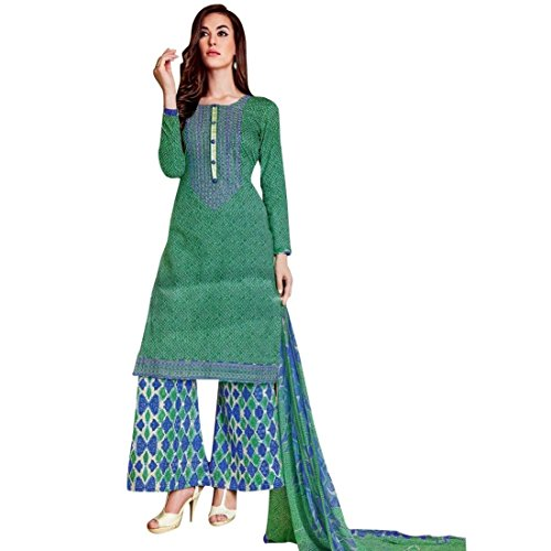 Ready To Wear Cotton Embroidered Printed Salwar Kameez Suit Indian – 0X Plus, Green