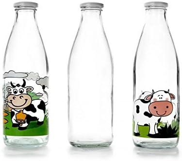 IBILI 743109 - Botella de Vidrio Transparente para la Leche, 900 ...