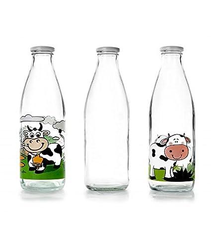 IBILI 743109 - Botella de Vidrio Transparente para la Leche, 900 ml, 8 x 8 x 27 cm