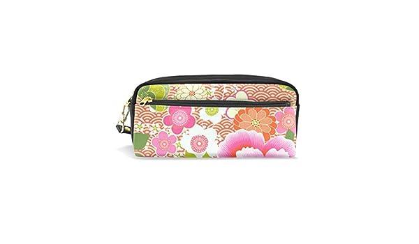 Estuche vintage con diseño de flores de peonía rosa con compartimentos y cremallera para niños y niñas: Amazon.es: Oficina y papelería