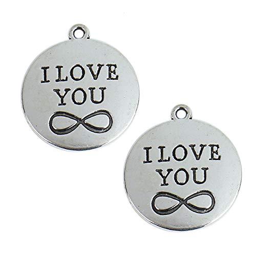 Monrocco 50 pcs Inspiration Words Charms I Love You Charms