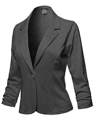 Casual Solid One Button Classic Blazer Jacket - Made in USA Charcoal Size M