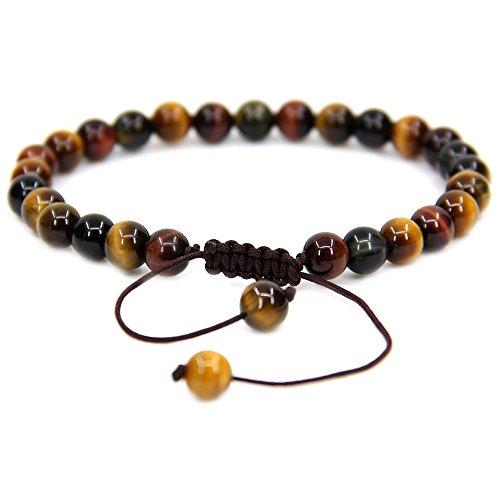 Natural AA Grade Multicolor Tiger Eye Gemstone 6mm Round Beads Adjustable Bracelet 7 Unisex