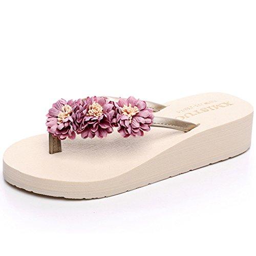 Eagsouni Plateau Flip Flops Gänseblümchen Zehentrenner/Plattform Sandalen Sommer Strand Schuhe für Damen Mädchen Beige