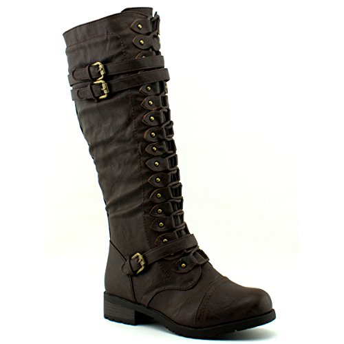 Wild Diva Womens Timberly-65 Boots, TPS Timberly-65 v6 Brown Size - Lara Costume Croft