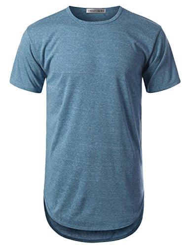 URBANCREWS Mens Hipster Hip Hop Melange Elong Crewneck T-Shirt Blue XXLarge by URBANCREWS