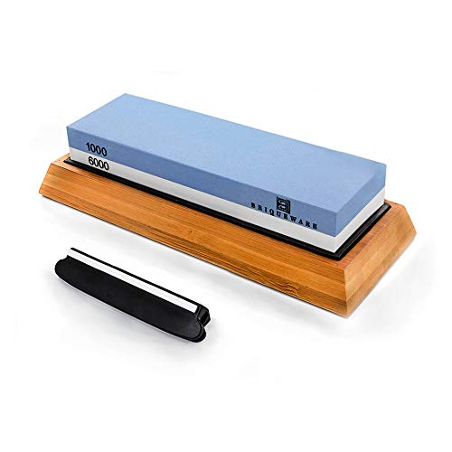 Professional Whetstone knife sharpening stone | Wet stone knife sharpener 1000/6000 Grit with Non-Slip bamboo base and Angle Guide | Best Waterstone Kitchen Knives Sharpening Kit