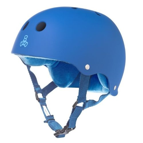 Triple Eight Helmet with Sweatsaver Liner (Royal Blue Rubber, Small) by Triple Eight