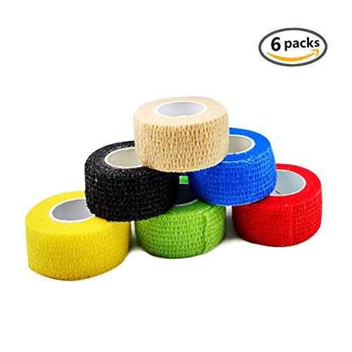 Self Adherent Wrap Tape Medical Cohesive Bandages Flexible Stretch Athletic Strong Elastic First Aid Tape for Sports Sprain Swelling and Soreness on Wrist and Ankle colorful 6 Pack 1Inch X (Elastic Athletic Tape)