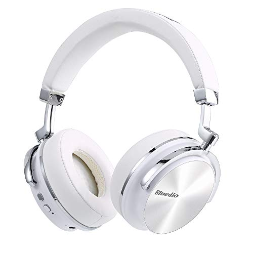 Bluedio Turbine Active Noise Cancelling Bluetooth Headphones, Wireless Earphones Portable with Microphone Bluetooth 4.2 Headset Remote Call (White)