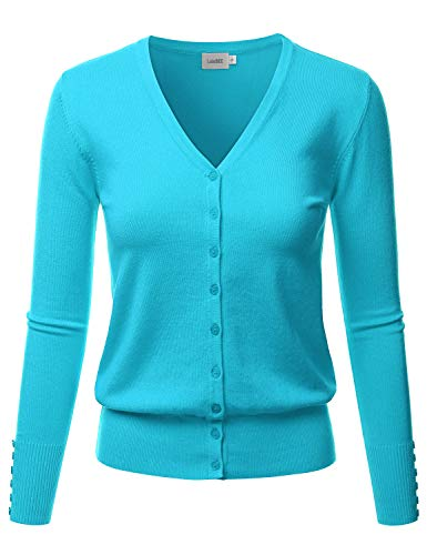 LALABEE Women's V-Neck Long Sleeve Button Down Sweater Cardigan Soft Knit-Aqua-S