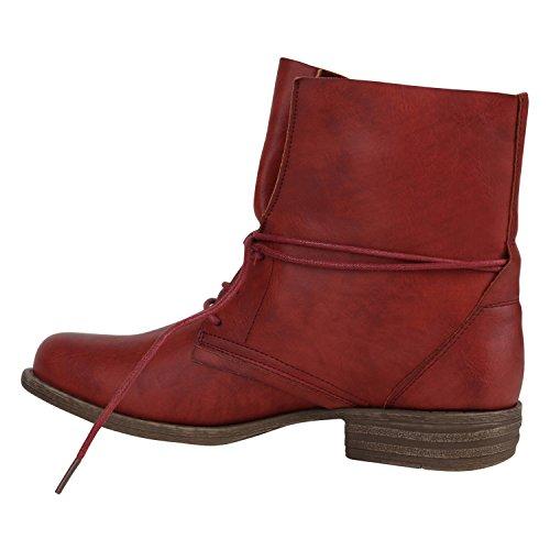Stiefelparadies Damen Schnürstiefeletten mit Blockabsatz Basic Flandell Rot Schnürung