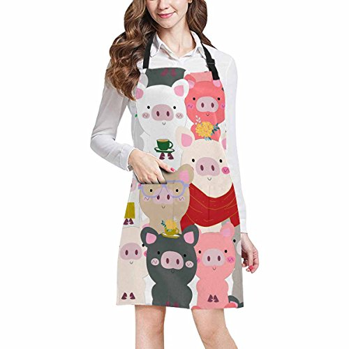InterestPrint Vintage Cute Baby Pig Pastel Cartoon Doodle Comic Art Kitchen Apron - Mens and Womens Bib Apron - Adjustable with Pockets for Cooking Baking Gardening, Large Size